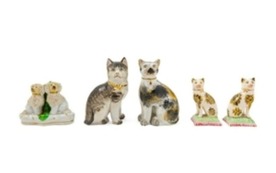 Five Porcelain Animalier Figures four cats and