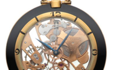 JUVENIA, SKELETON POCKET WATCH, YELLOW GOLD AND BLACK LACQUER