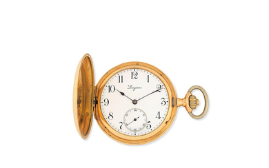 Longines. An 18K gold keyless wind full hunter pocket watch