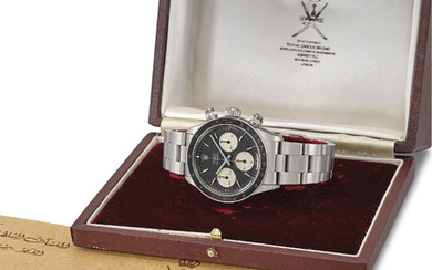 Rolex. A very important and exceptionally rare stainless steel chronograph wristwatch with bracelet, original Asprey box and Sultan of Oman crested envelope and presentation gift card, SIGNED ROLEX, OYSTER, COSMOGRAPH DAYTONA MODEL, RETAILED BY ASPREY,...