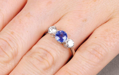 A sapphire and brilliant-cut diamond three-stone