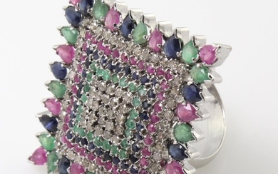 Silver Diamond, Ruby, Sapphire and Tourmaline ring. Set with...