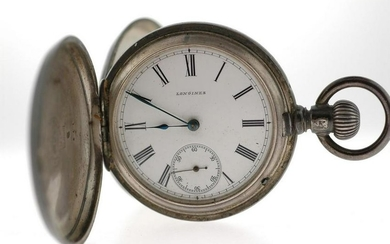 Sterling Silver Antique Longines Hunter Pocket Watch