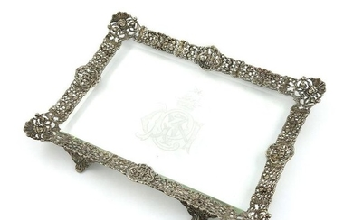 A Victorian silver mounted glass dressing table tr…