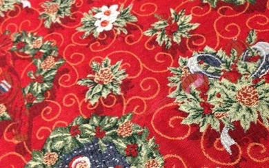 red base and multicolored decorations finished in golden thread - cotton blend - Second half 20th century