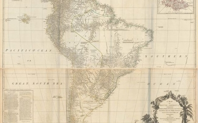 """Price reduced by $100, """"[On 4 Sheets] A Map of South America Containing Tierra-Firma, Guayana, New Granada Amazonia, Brasil, Peru, Paraguay, Chaco, Tucuman, Chili and Patagonia. From Mr. d'Anville..."""", Laurie & Whittle"""