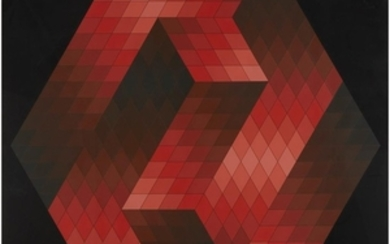 """VICTOR VASARELY (french/hungarian, 1906–1997) RED HEXAGON from """"gestalt"""" 1969,..."""