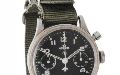 Lemania, Military stainless steel single pusher chronograph wrist watch