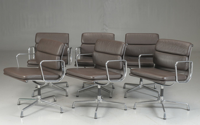 Charles Eames. Six Soft Pad lounge chairs, Model EA-208, brown leather (6)