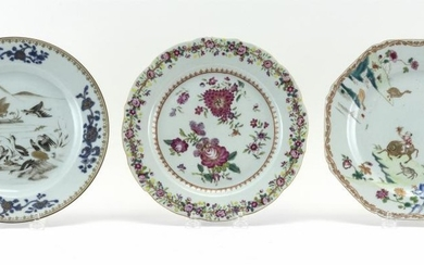 THREE CHINESE EXPORT PORCELAIN PLATES One with central decoration of gilt storks amongst a grisaille landscape and a cobalt blue and...