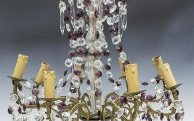 FRENCH PURPLE & CLEAR CRYSTAL 8-LIGHT CHANDELIER
