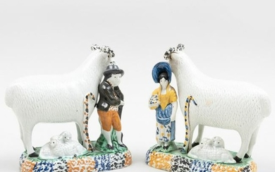 Pair of Staffordshire Pearlware Shepherd and