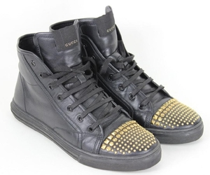 Gucci Black Leather Shoes, Gold Studs