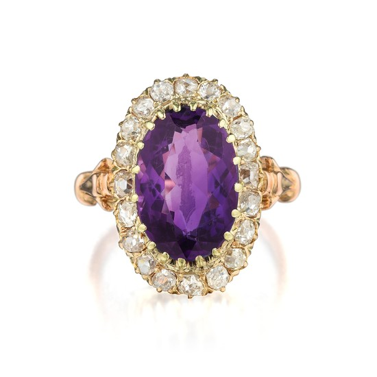 Victorian - Victorian Amethyst and Diamond Ring