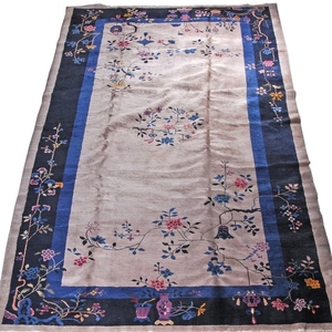 Lot Art Vintage Hand Knotted Chinese Art Deco Style Wool Area Rug