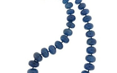 A tanzanite bead necklace, the graduated rondel-shaped beads...