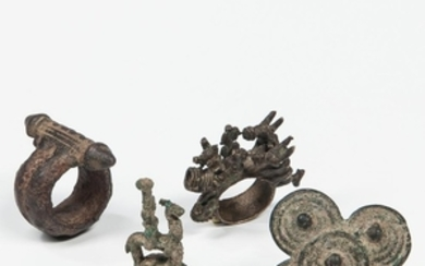 Four Bronze Rings from Burkina Faso