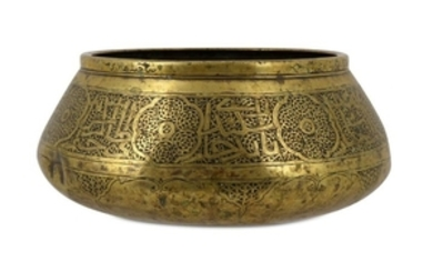 A FARS BRASS BOWL Iran,14th century Of shallow