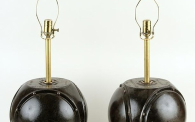 PAIR ONE-LIGHT TABLE LAMPS, CONVERTED TOBEY METER