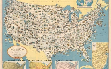 """A Pictorial Map of the United States of America Showing Principal Regional Resources, Products, and Natural Features"""