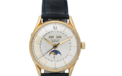 Gübelin. A 14K gold and stainless steel automatic triple calendar wristwatch with moon phase