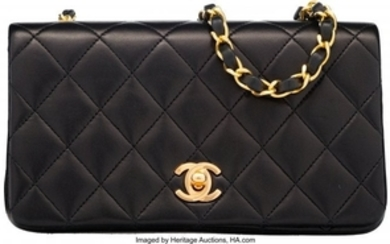 16028: Chanel Black Quilted Lambskin Leather Mini Shoul