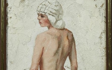 "Alex Schloss, ""Nude Blonde with Hat,"" 20th c., mixed"