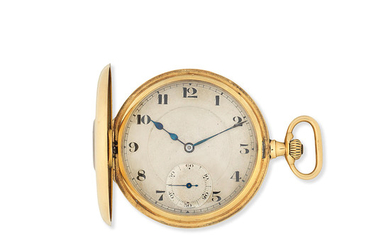 An 18K gold keyless wind half hunter pocket watch