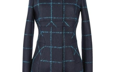 Christian Dior Coat Navy Wool Teal Mohair Window Pane