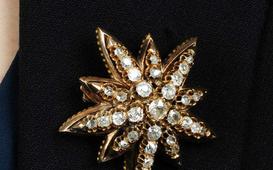 A late Victorian 9ct old old and rose-cut diamond star brooch.