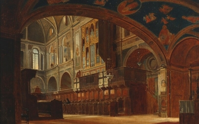 Peter Kornbeck: Italian church interior. Signed and dated P. Kornbeck, 1871. Oil on panel. 31×43 cm.