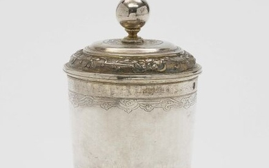 A Silver Covered Beaker on Ball Feet Augsburg, 171…