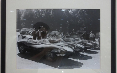 Six monochrome motorsport photographs,