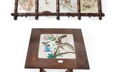 An Edwardian Mahogany Plant Stand, the square top inset with...