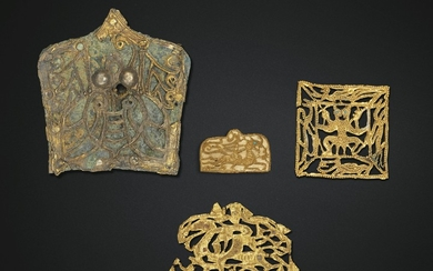 FOUR SMALL GOLD ORNAMENTS, EASTERN HAN-SIX DYNASTIES PERIOD, 1ST-4TH CENTURY AD