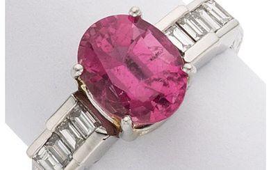 Pink Tourmaline, Diamond, Platinum Ring The ring features an...