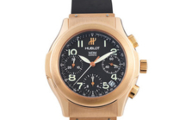 Hublot. A Pink Gold Chronograph Wristwatch with Date