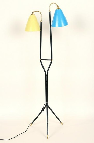 IRON AND BRASS TWO ARM FLOOR LAMP CIRCA 1950