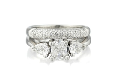 A Diamond Ring and Band Set