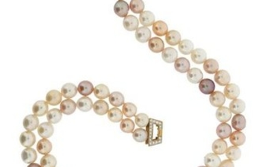 A two-row cultured pearl necklace, with a ruby...