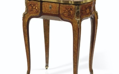 A LOUIS XV ORMOLU-MOUNTED AMARANTH, TULIPWOOD, GREEN-STAINED BURR-ELM AND MARQUETRY TABLE À ÉCRIRE, POSSIBLY BY JEAN-PIERRE LATZ WITH MARQUETRY PANELS BY JEAN-FRANÇOIS OEBEN, CIRCA 1755-1760, THE MARBLE TOP POSSIBLY ORIGINAL