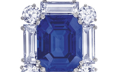 EXCEPTIONAL SAPPHIRE AND DIAMOND BROOCH, CARTIER,