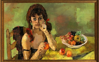 FRANCOISE ADNET B.PARIS 1924 14 MODERNIST OIL ON CANVAS 28.5 45.5 GIRL WITH FRUIT