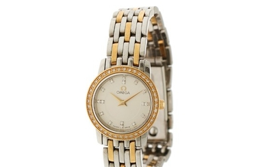 Omega: A lady's wristwatch of 18k gold and steel, ref. C4375B45. Quartz movement. 1997.