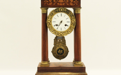 FRENCH MARQUETRY INLAID ROSEWOOD PORTICO CLOCK