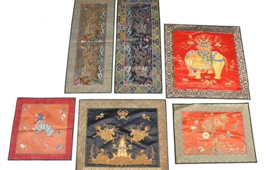 A group of Chinese silk panels