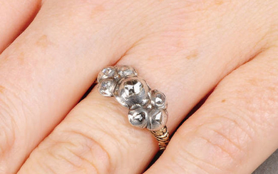 A 17th century silver and gold rose-cut diamond bow ring