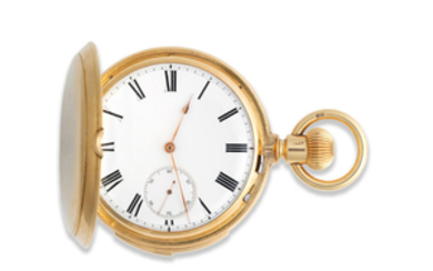 An 18K gold keyless wind full hunter minute repeating pocket watch
