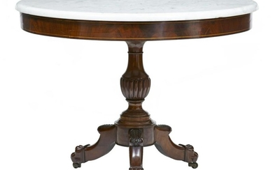 19TH CENTURY WILLIAM IV MAHOGANY MARBLE TOP GUERIDON