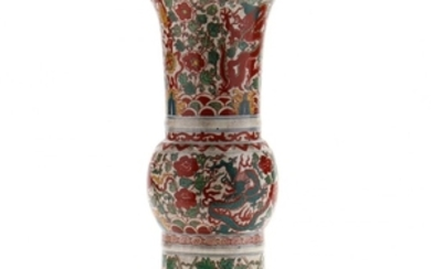Chinese Crackle Vase with Dragons and Phoenixes